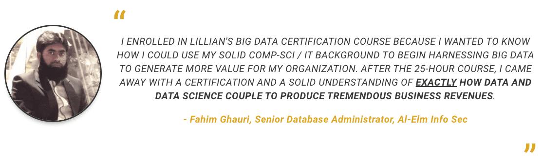 Client Testimonial on Lillian's Big Data Certification Course