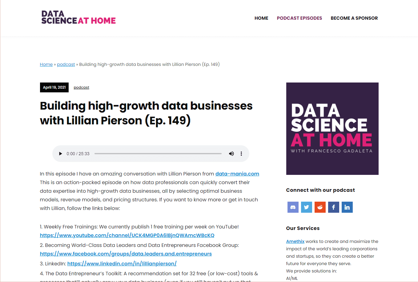 Podcast Building High-Growth Data Businesses with Lillian Pierson