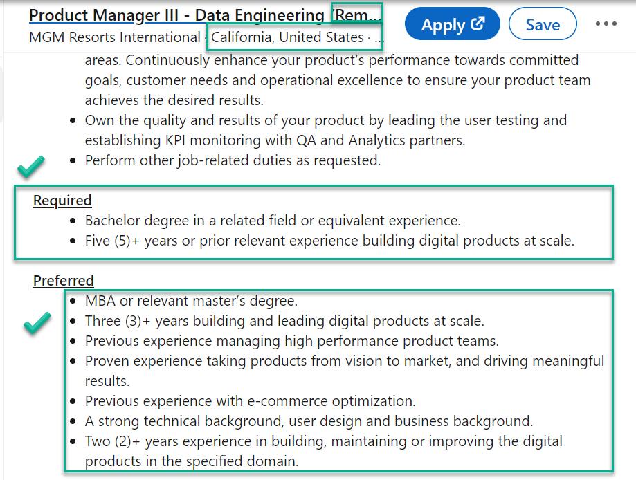 data product manager job at MGM